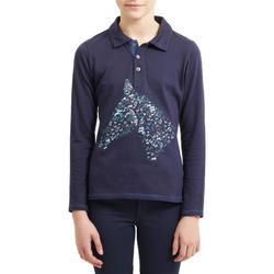 Poloshirt voor paardrijden meisjes 100 lange mouwen marineblauw en turquoise