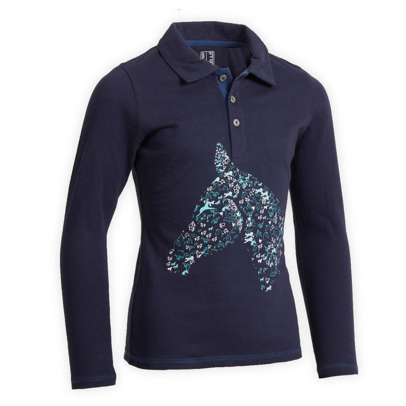 Girls' Horse Riding Long-Sleeved Polo Shirt 100 - Navy/Turquoise