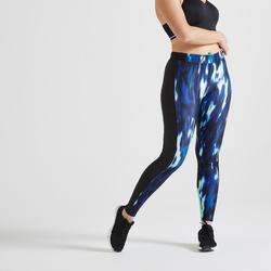 Fitness legging voor cardiotraining voor dames 120 groen met print