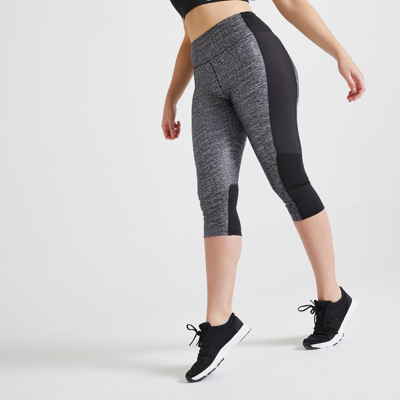Women's Fitness Cardio Training Cropped Bottoms 120 - Mottled Grey