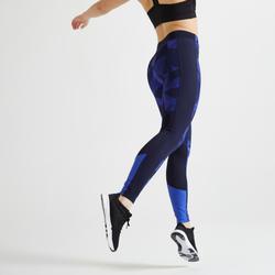 Fitnesslegging voor cardiotraining voor dames 120 blauw met print