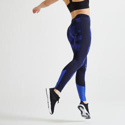 Legging fitness cardio training femme bleu imprimé 120