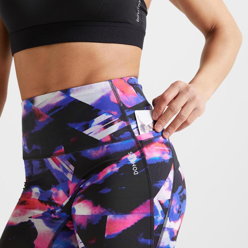กางเกงเลกกิ้งขาส่วนเพื่อการออกกำลังกายแบบคาร์ดิโอสำหรับผู้หญิงรุ่น 500A (สีน้ำเงิน/ชมพูพิมพ์ลาย)