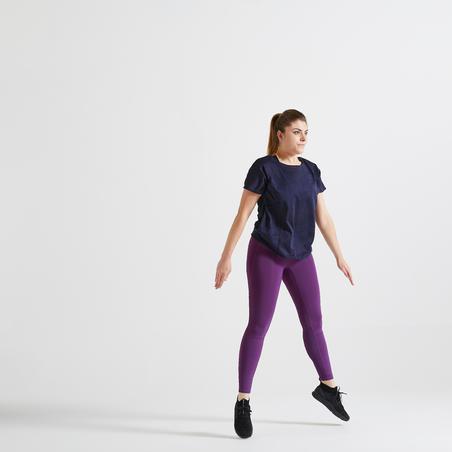 Футболка жіноча 500 для кардіофітнесу - Темно-синя