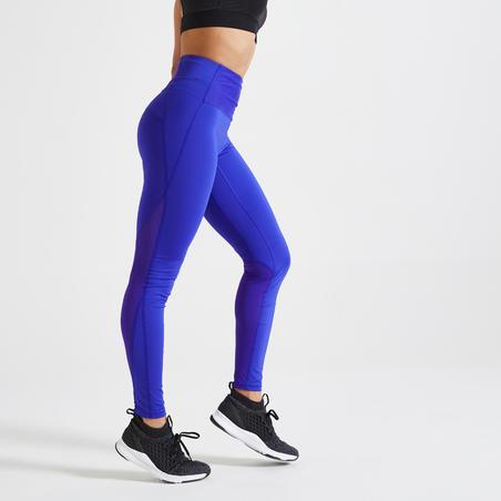 Mallas Leggings mujer Fitness vientre plano Domyos FTI500A azul