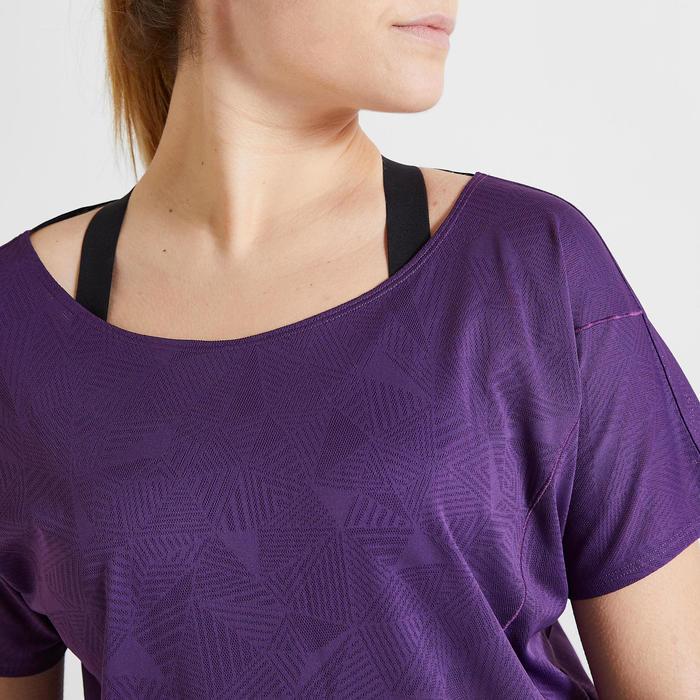 T-shirt voor cardiofitness dames 500 bordeaux