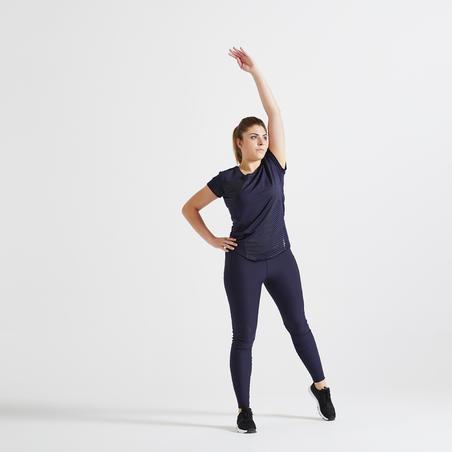 Футболка жіноча 120 для кардіофітнесу – Темно-синя