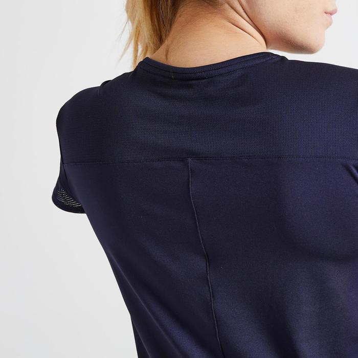 T-shirt voor cardiofitness dames 120 marineblauw met print