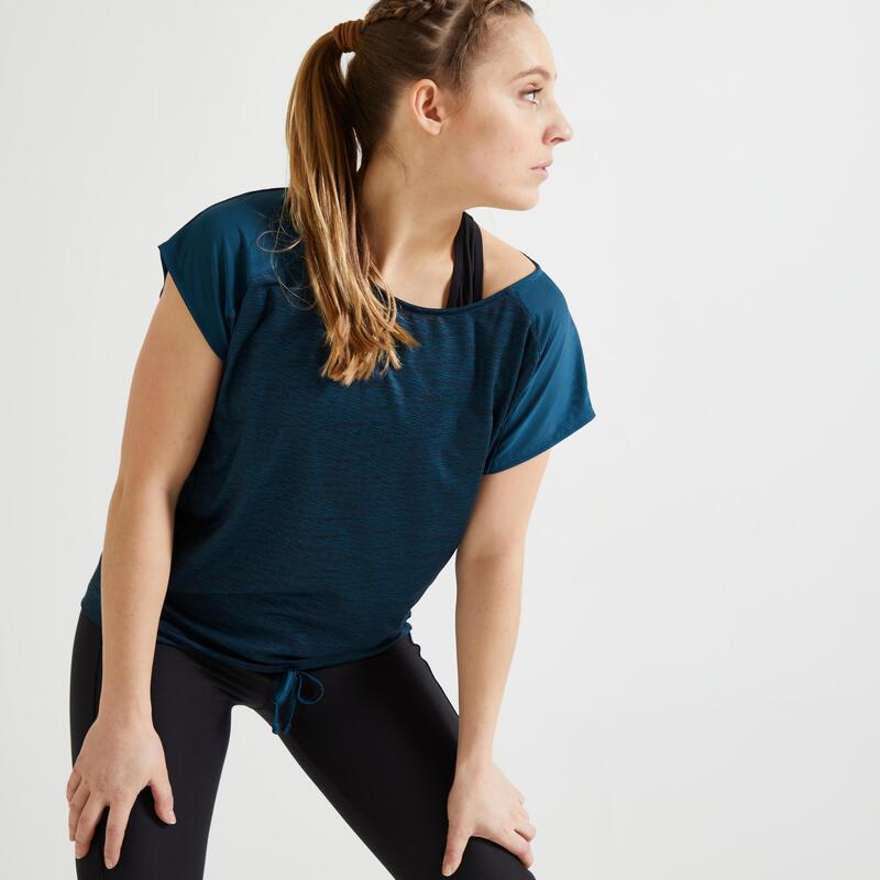 Dámské fitness tričko 120 volného střihu tmavě zelené