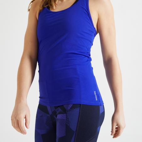 """Sieviešu sporta bezpiedurkņu krekls """"100"""", zils"""