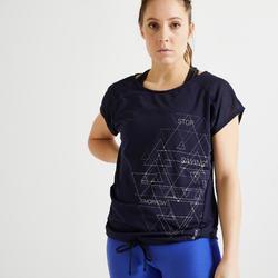 Wijd T-shirt voor cardiofitness dames marineblauw
