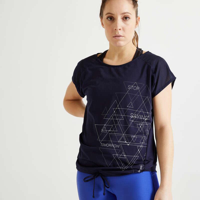 Fitnesz Cardio Női ruházat kezdő Fitnesz - Női fitneszpóló 120-as DOMYOS - Fitnesz