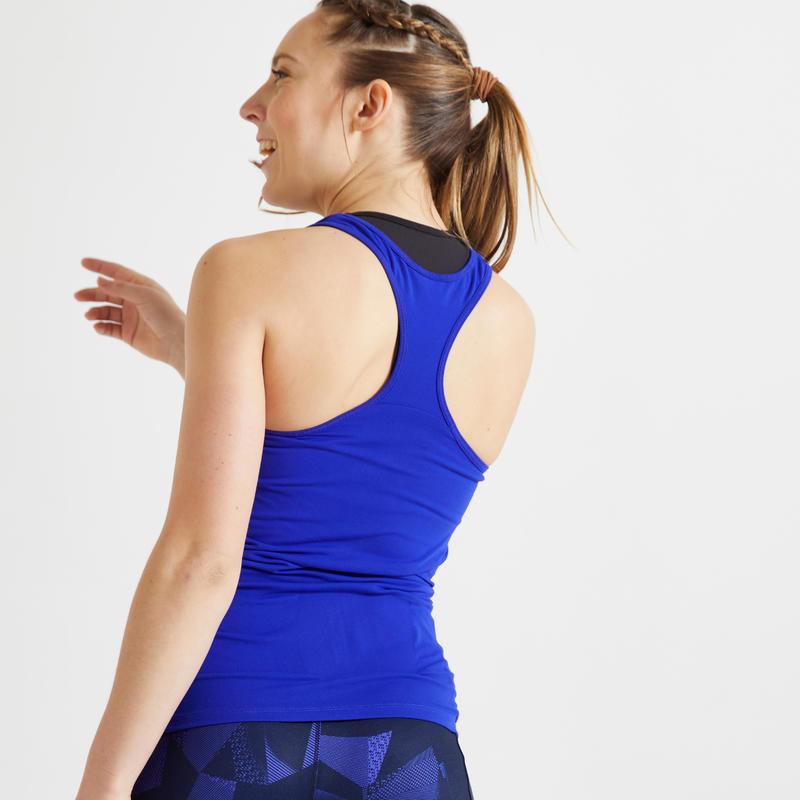 Camiseta sin mangas fitness cardio-training mujer azul 100