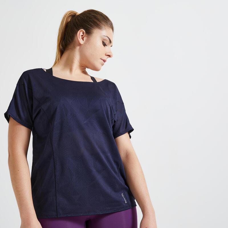 Camiseta Mujer Manga Corta Fitness cardio-training Azul Marino