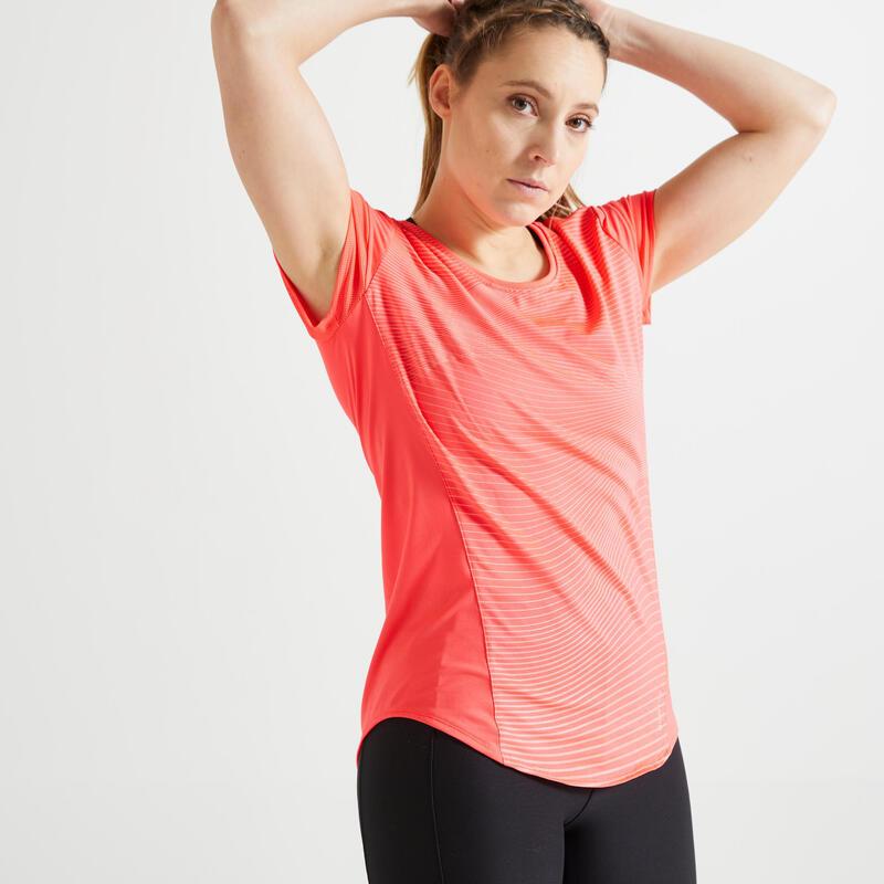 Getailleerd T-shirt voor cardiofitness dames roze met print