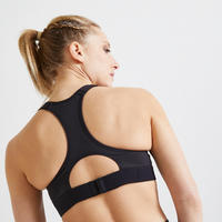 Brassière fitness cardio training femme imprimé rose et noir 900