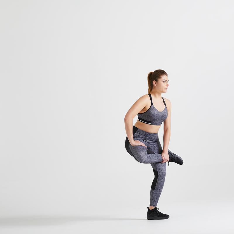 Women's Cardio Fitness Sports Bra 500 - Grey Marl