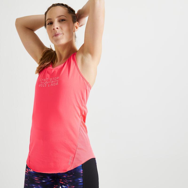 Canotta lunga donna fitness 120 rosa