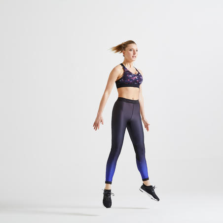 Women's Cardio Fitness Training Bra 900 - Pink/Black Print