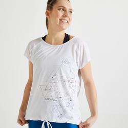 Wijd T-shirt voor cardiofitness dames wit