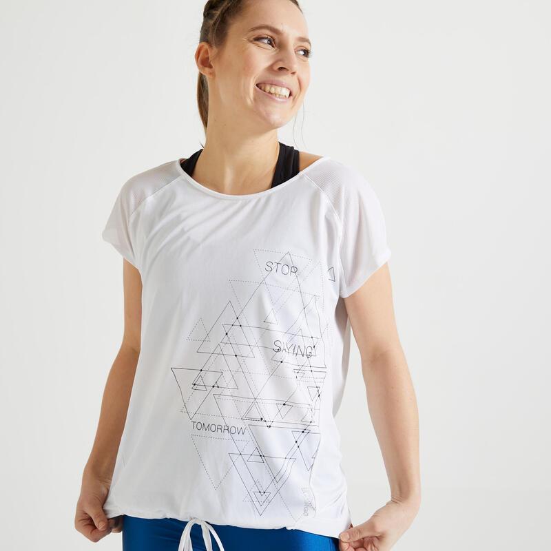 Dámské fitness tričko 120 volného střihu bílé