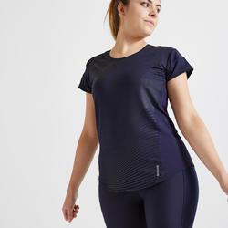 T-shirt cintré Fitness bleu marine imprimé