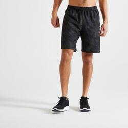 Short training fitness kaki noir imprimé éco-responsable