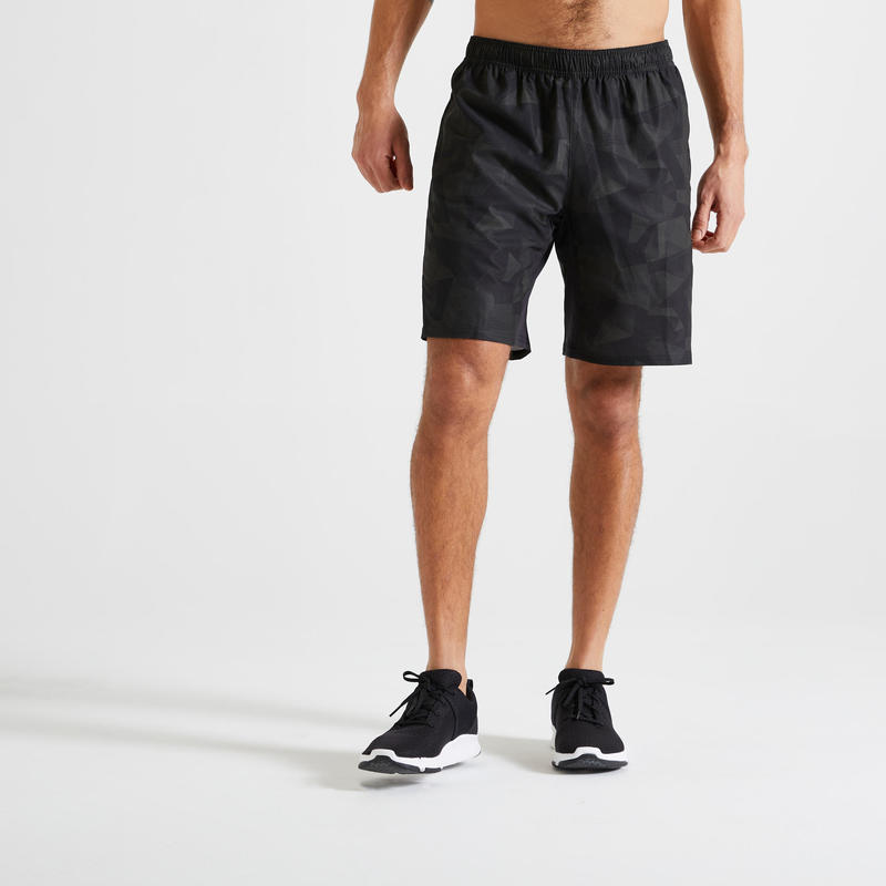 Short Fitness training kaki imprimé poches zippées