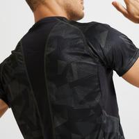 Playera fitness cardio-training hombre caqui negro camuflaje120 eco-responsable