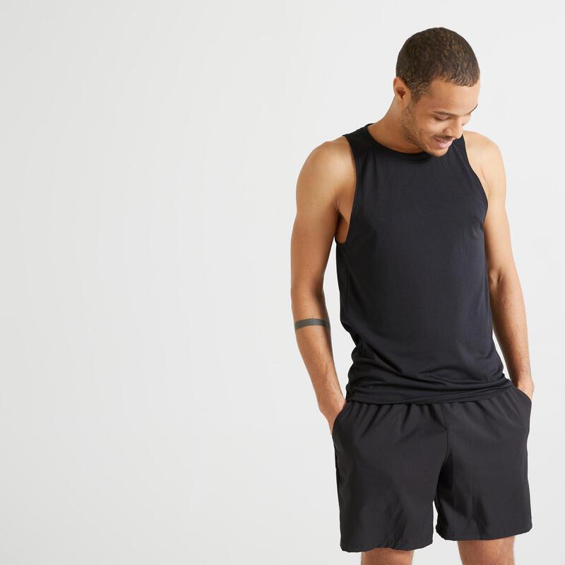 Mouwloos shirt voor cardiofitness heren 100 zwart