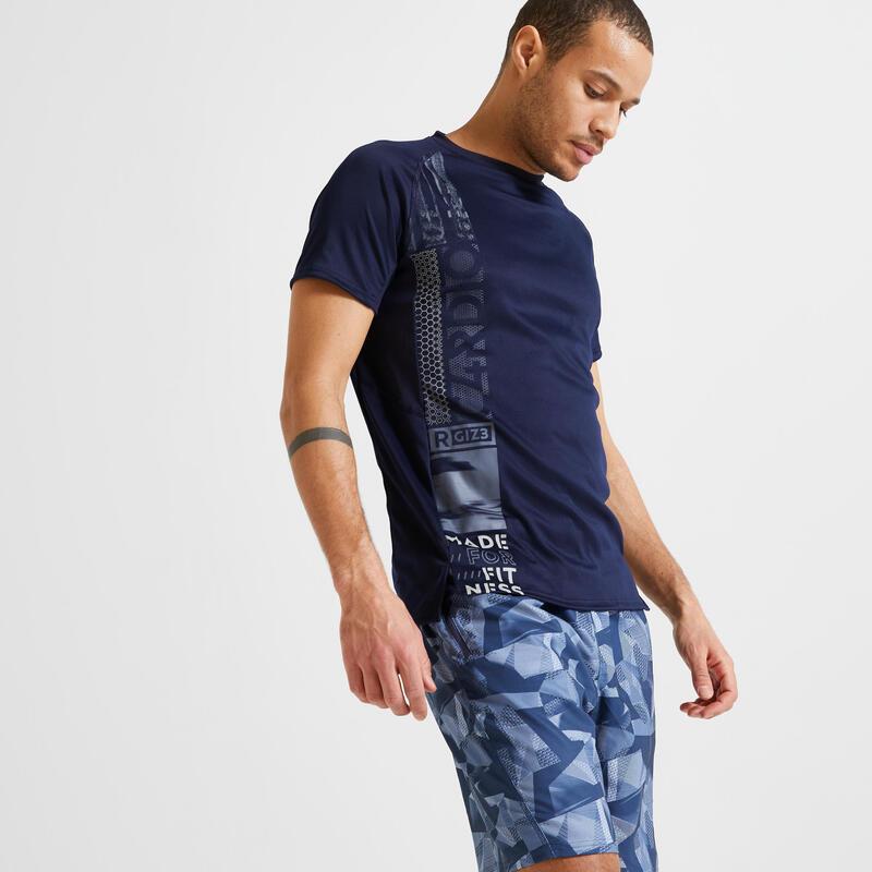 T-shirt voor cardiofitness heren 120 milieuvriendelijk donkerblauw