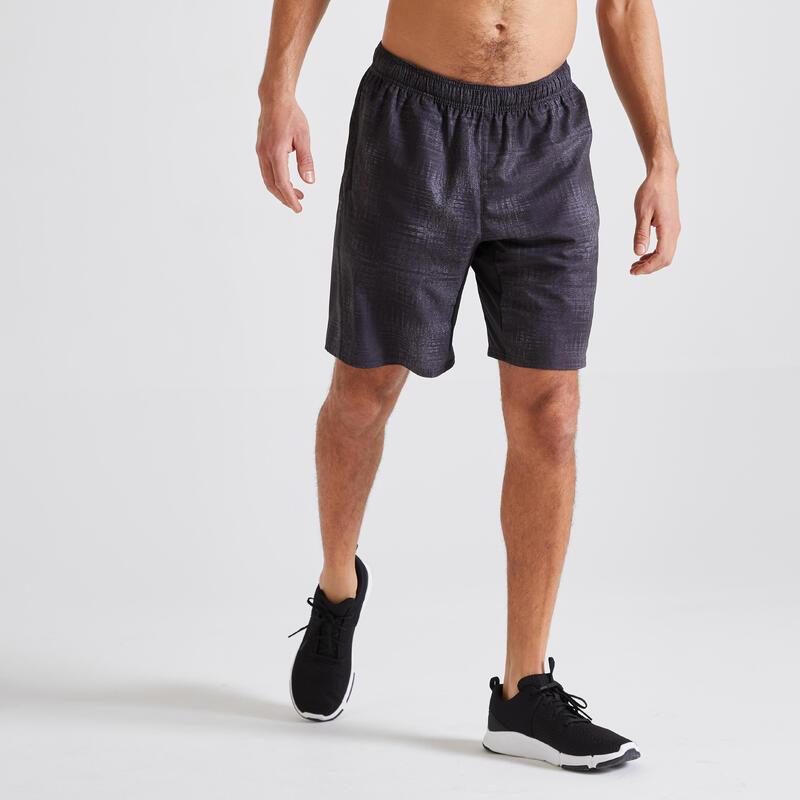 Short Fitness training gris noir poches zippées