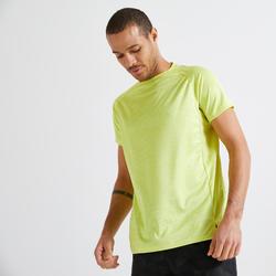 T-shirt voor cardiofitness heren 120 milieuvriendelijk geel