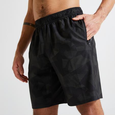 Eco-Friendly Fitness Training Shorts - Khaki/Black Print