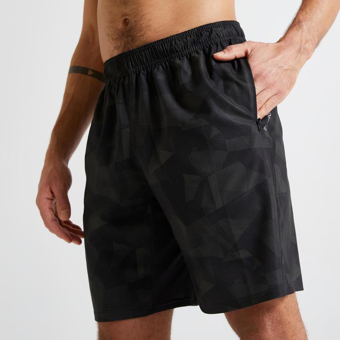 Short voor cardiofitness heren 120 milieuvriendelijk kaki/zwart camouflage