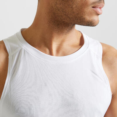 Men's Fitness Cardio Training Tank Top 100 - White