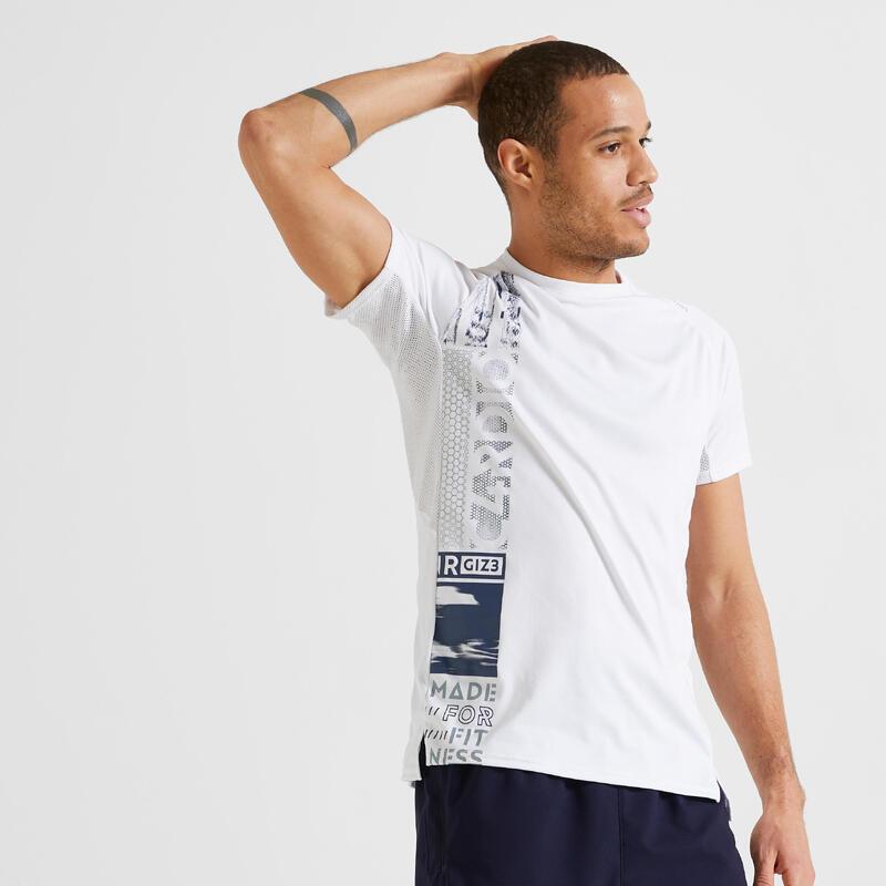 T-shirt de Fitness Cardio Training print blanc 120 eco-responsable