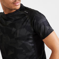 T-shirt de Fitness Cardio Training homme kaki noir camo 120 eco-responsable