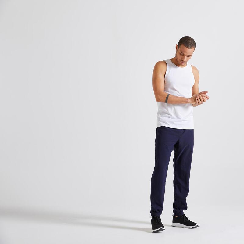 Pantalón chándal hombre fitness Domyos 120 strech ecodiseñado azul marino
