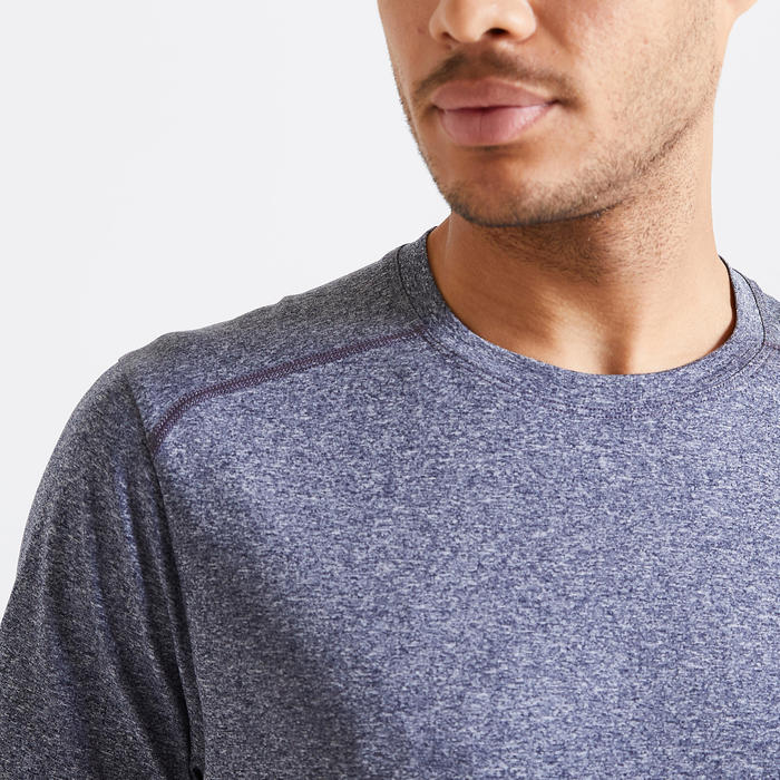 Technisch shirt voor fitness gemêleerd grijs