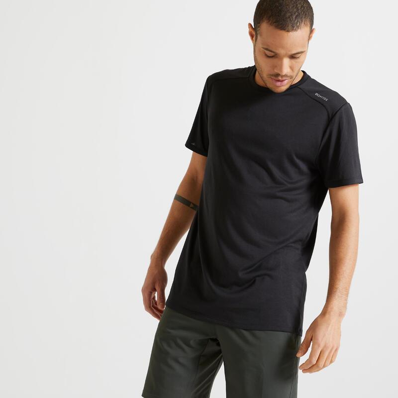 Men's Fitness Cardio Training T-Shirt 100 - Black