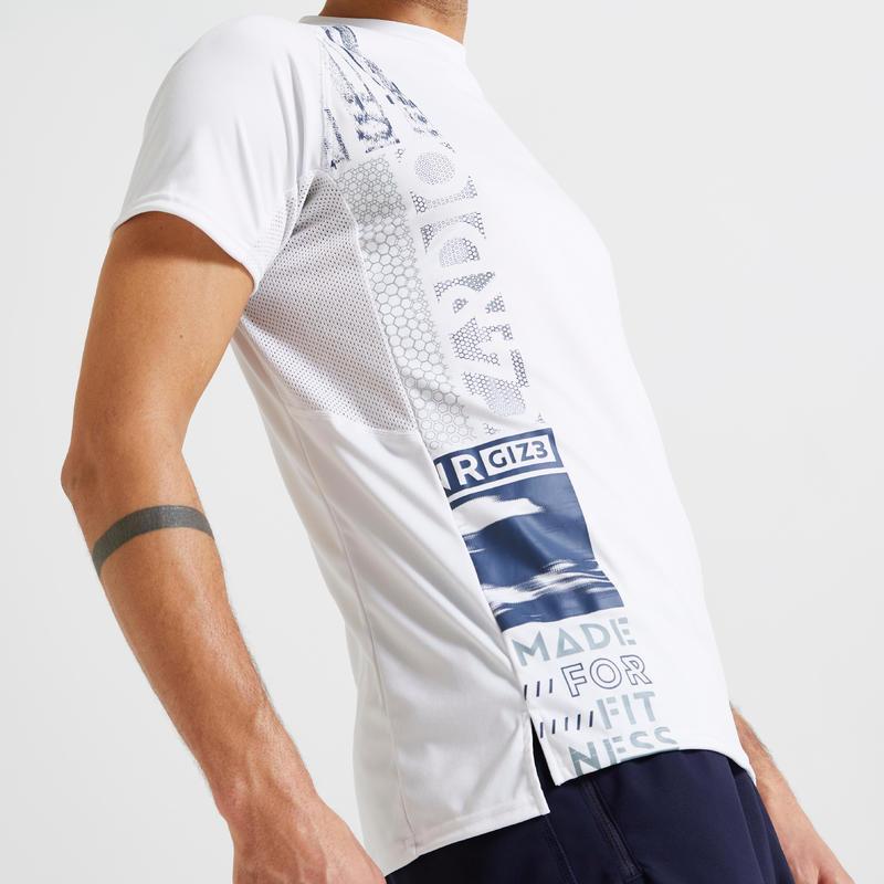 เสื้อยืดผู้หญิงเพื่อการออกกำลังกายแบบคาร์ดิโอที่เป็นมิตรกับสิ่งแวดล้อมรุ่น 120 (สีขาวพิมพ์ลาย)