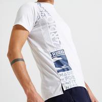 Playera fitness cardio-training estampado blanco 120 eco-responsable
