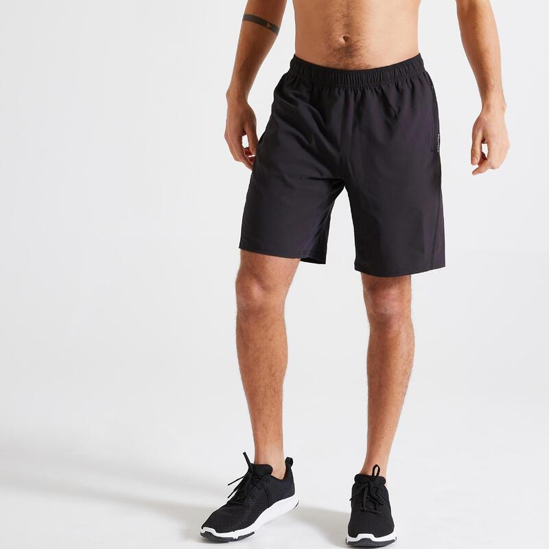 Short Fitness training noir uni poches zippées