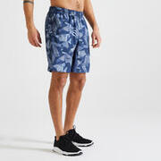 Men's Recycled Polyester Gym Shorts with Zip Pockets - Printed Grey/Blue