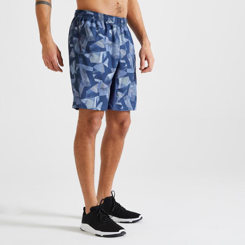 Short voor cardiofitness heren 120 milieuvriendelijk grijs/blauw print