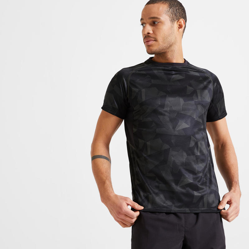 T shirt technique fitness kaki imprimé camouflage eco-responsable