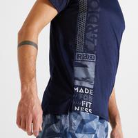 Playera fitness cardio-training hombre azul oscuro 120 eco-responsable