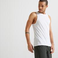 Playera sin mangas fitness cardio training hombre blanco 100