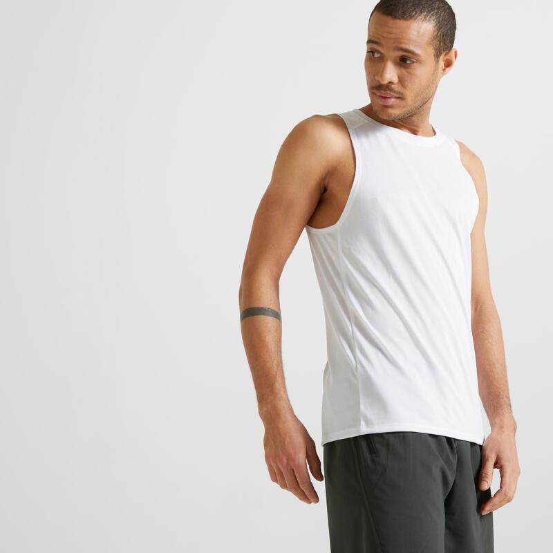 Mouwloos shirt voor cardiofitness heren FTA 100 wit